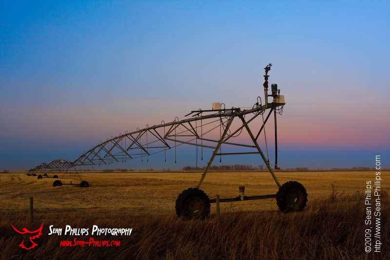 Irrigation Pivot at Sunset