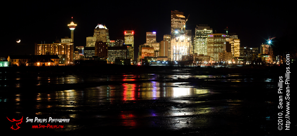 Panoramic Image of the Calgary Cityscape at Night
