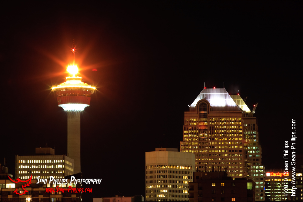 The Olympic Torch Burning on top of the Calgary Tower