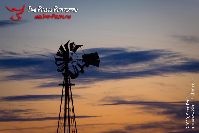 Prairie Windmill at Sunrise