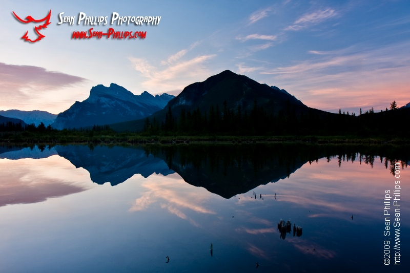 Mount Rundle and Vermillion Lake at Sunrise
