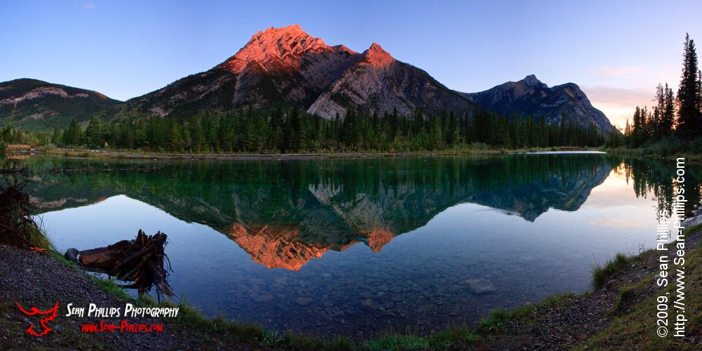 Panoramic image of Mount Lorette at Sunrise