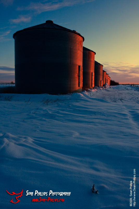 Grain Bins in the Morning Glow