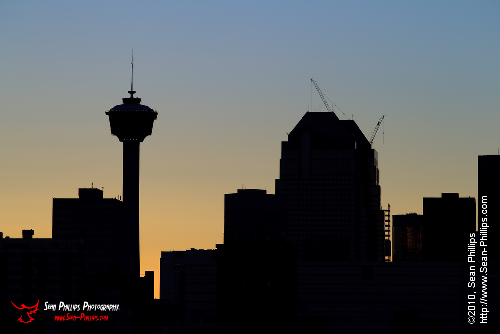 The Calgary Skyline Silhouetted against the Sunset